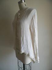 $205 JEN'S PIRATE BOOTY Isabella Ivory Gauze Open Front Kimono Jacket Crochet
