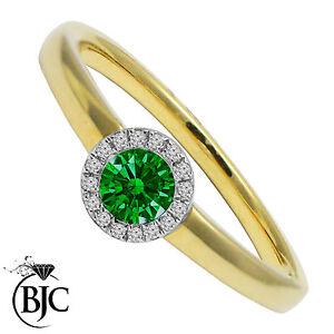 Bjc-9Ct-Oro-Amarillo-Esmeralda-amp-Diamante-Tamano-N-Compromiso-Anillo-de-Vestir