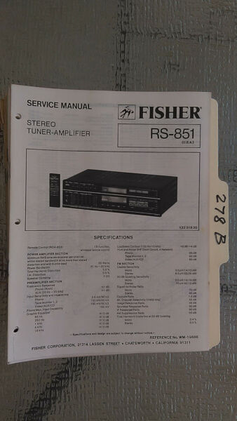 Hete Verkoop Fisher Rs-851 Service Manual Original Repair Book Stereo Receiver Tuner Radio
