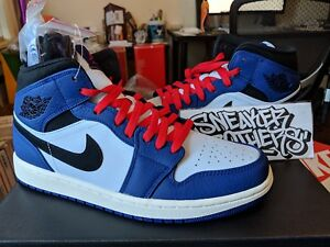Nike Air Jordan Retro I 1 Mid SE Deep Royal Blue Black Red White Men ... d6a1253e4