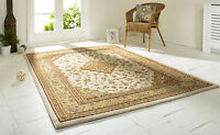 Ottoman Temple Rugs Traditional Carved Wilton Rug In Cream / Beige 160x230cm