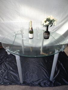 Cristal-Redondo-Estilo-Art-Deco-Metal-Cromo-extendiendo-asientos-de-Mesa-de-comedor-4