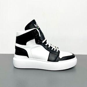 Sneakers-Alte-ML-in-Vera-Pelle-Bianca-e-Inserti-Nero-Scarpe-Made-in-Italy-Uomo