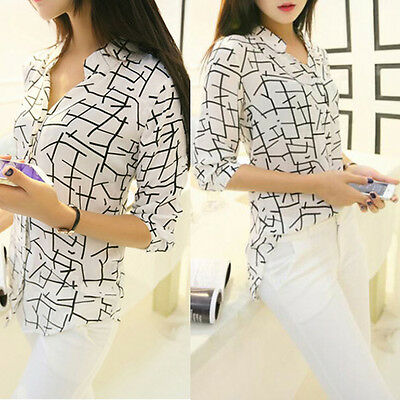 Women's Lady Loose 3/4 Sleeve Chiffon Casual Blouse Shirt Tops Fashion Blouse