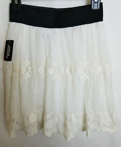 f007fb5ce Image is loading FOREVER-21-Womens-Cream-Skirt-Elastic-Waist-Embroidered-
