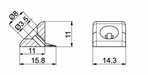 nez 60 Mur Arrière Lien tiroir Sol Support Stabilisateurs Mur Arrière Support
