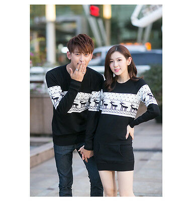 2015 NEW Womens Mens round neck Xmas Reindeer lovers Couples  sweater Knitting