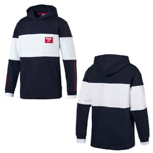 Details about Puma Rebel Block Fleece Hoodie Pullover Sweatshirt Jumper Navy 852400 06 M15