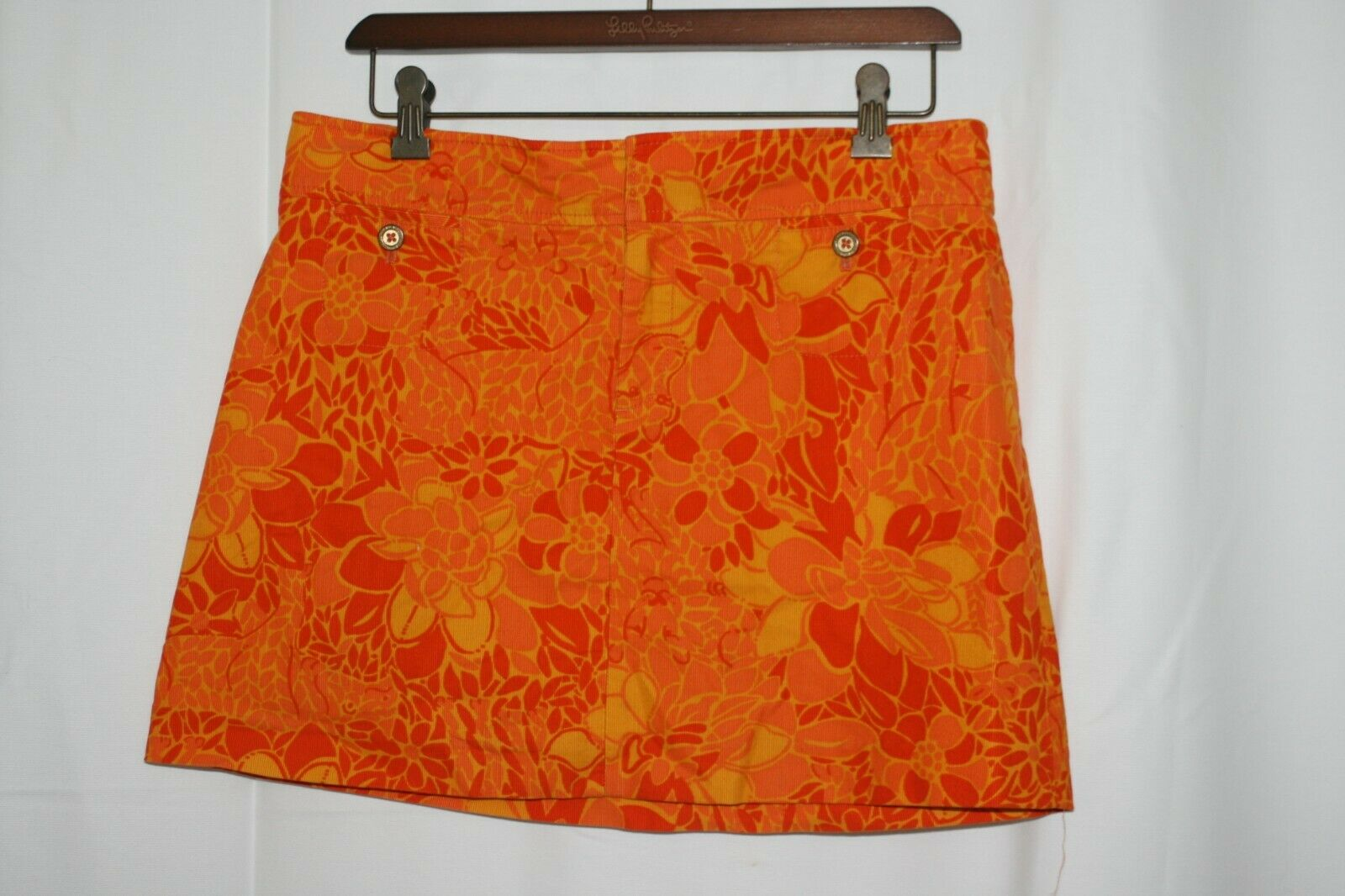 Lilly Pulitzer Mini Skirt orange Floral Size 6