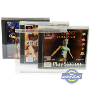 Charmant 10 X Ps1 Game Box Protections Pour Playstation Solide En Plastique 0.4 Mm Display Case-afficher Le Titre D'origine