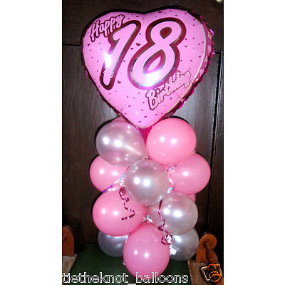 "AGE 18 18TH BIRTHDAY 18"" FOIL BALLOON TABLE DISPLAY DECORATION AIR FILL heart"