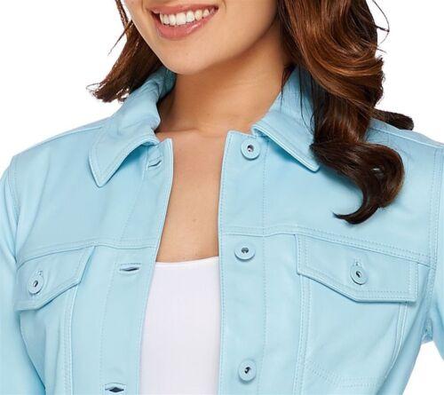 Lamb Msrp Jean Jacket Leather Co Cool 289 Blue Denim Size Xxs Fx476q