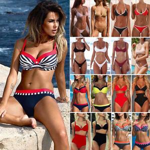 Bra swimwear triangle swimsuit padded lady push up bandage set Women  bikini