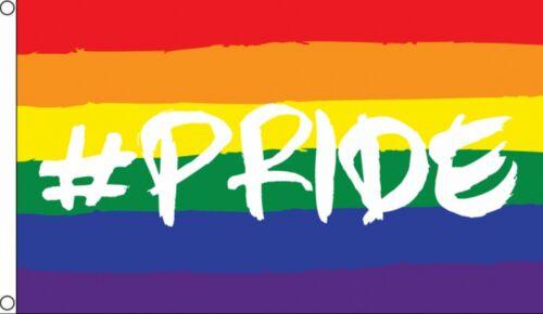 HASHTAG PRIDE 5x3 feet FLAG 150cm x 90cm RAINBOW GAY LGBT