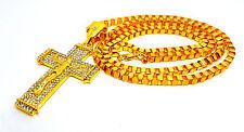 Cadena collar Hip Hop Micro-allanó claro cristal Jesús Cruz Colgante UK
