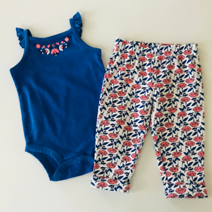 Carter S Baby Girl 9 12 Months Blue Bodysuit Floral Pant Set Clothes Outfit Ebay