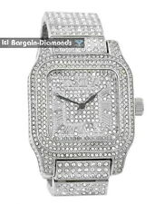 manly big silver tone square CZ ice out case dial bracelet clubbing watch