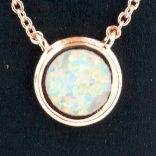 Antique Round White Opal Pendant Necklace Nickel Free Jewelry Gift 14K Rose Gold