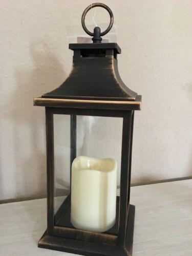 LED Laterne Inkl Kerze Schwarz Gold Kunststoff Antikfinish 33 cm Batterie