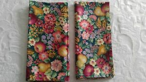 Cloth-Napkins-Handmade-Floral-amp-Fruit-Pears-Apples-Green-Floral-Print-Cotton-New