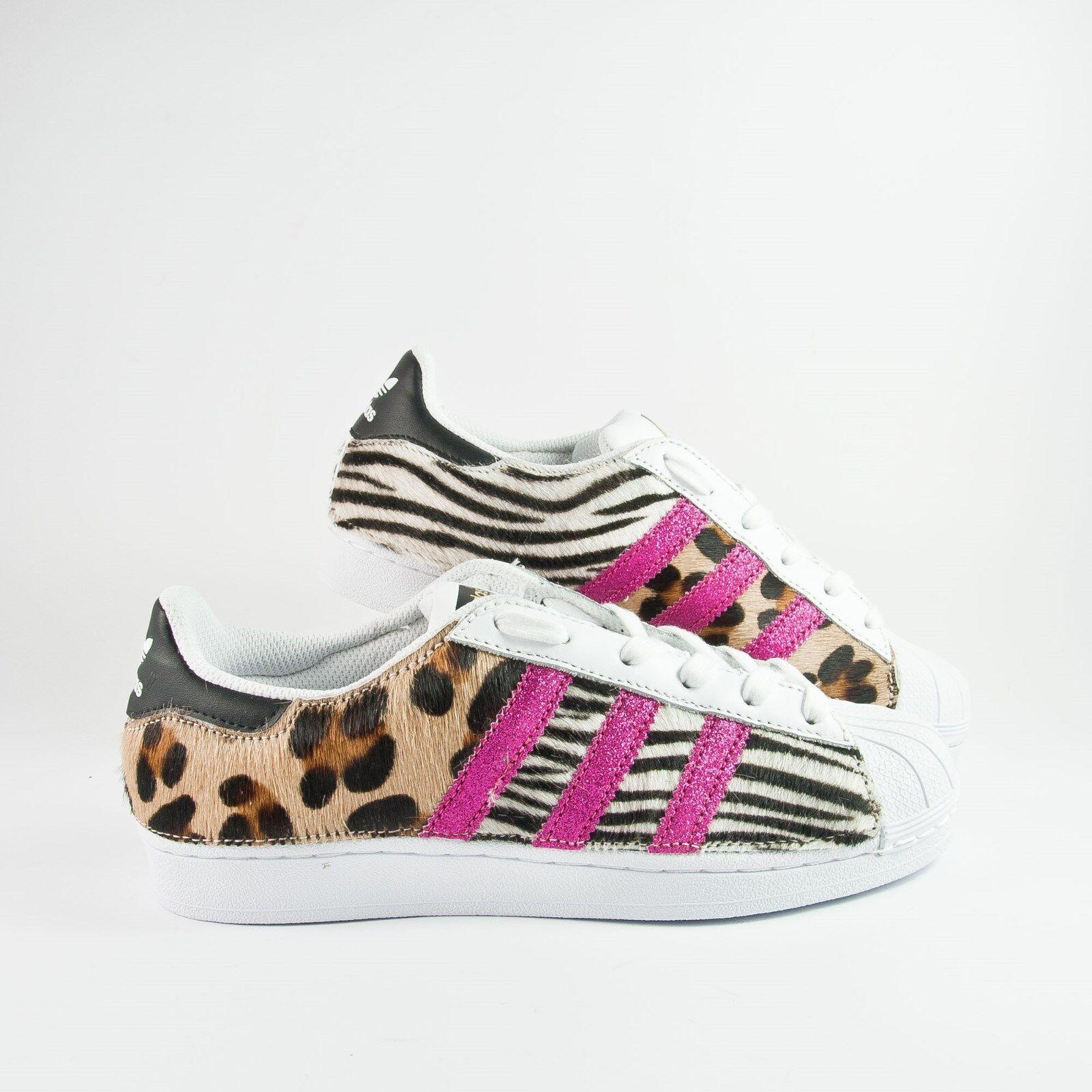 Scarpe adidas superstar con cavallino maculato e cavallino zebrato rughe e rughe zebrato fucxi 97a056