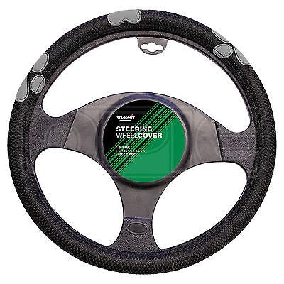 Summit SUM-720 Grey Paw Print Steering Wheel Cover Single