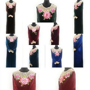 Women-winter-Velvet-Long-Maxi-Dress-Embroidered-Abaya-Robe-Luxury-Kaftan-Jilbab