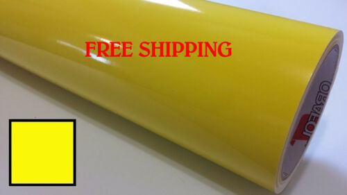 "Glossy BRIGHT YELLOW Vinyl Graphics Decal Sticker Sheet Film Roll 24/"" FREE SHIP"