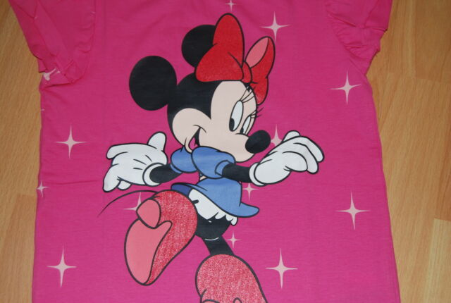 % NEU~MEGA~H&M~MINNIE MAUS~GLITZER~T-SHIRT~BLUSE~116 122 128~DISNEY~TOP~SHIRT