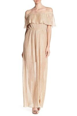 Dress The Population Pleated Off the Shoulder Maxi Dress Gold Womens Sz S or M