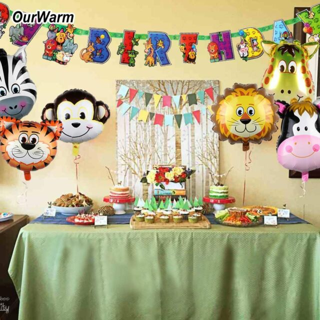 Safari Animal Jungle Party Banner & Balloon Baby Shower Kid Birthday Party Decor