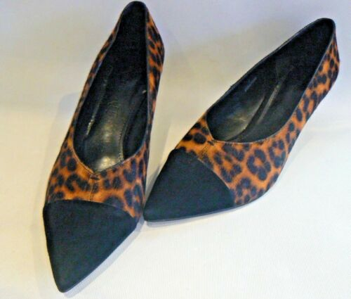 M/&S Autograph Leopard Print Leather Shoes Pony Hair UK Size 7-7.5