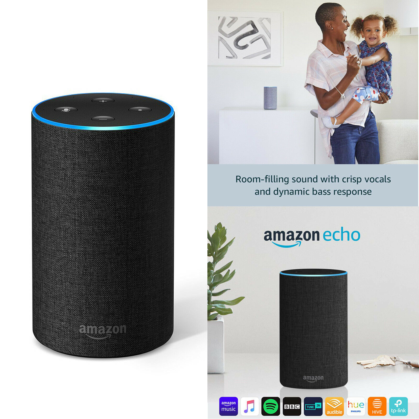 Amazon Echo 2nd Generation Kabellos Alexa Blautooth Lautsprecher - Dunkelgrau