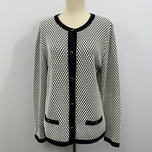 Skovhuus-Womans-Button-Up-Blazer-Jacket-Black-White-Size-Medium