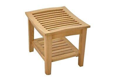 Strange A Grade Teak Wood Shower Spa Bath Stool Bench With Shelf Outdoor Garden Patio Nw Ebay Inzonedesignstudio Interior Chair Design Inzonedesignstudiocom