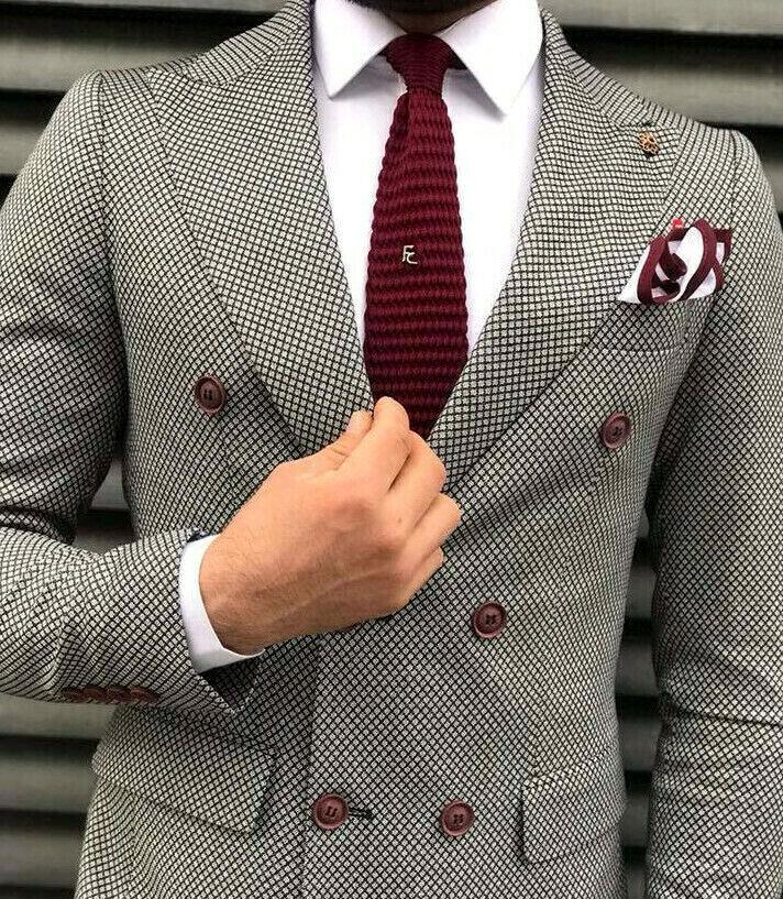 Designer Zweireiher Herrenanzug Schwarz Grau Kariert Anzug Tailliert Slim Fit 48
