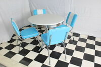 American 50s Diner Furniture 4 Blue Chairs