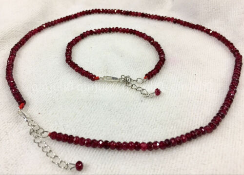 Bracelet 18''AAA 2x4mm Brazil Red Ruby Faceted Roundel Gemstone necklace