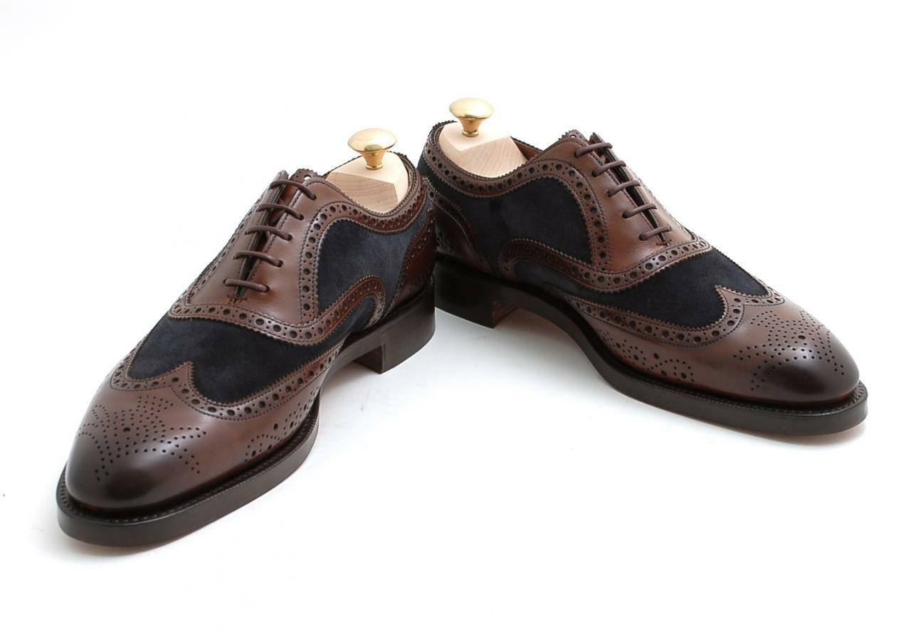 MEN NEW HANDMADE BROWN PURE LEATHER TWO TONE WINGTIP BROGUE BROWN HANDMADE DRESS Schuhe feef84