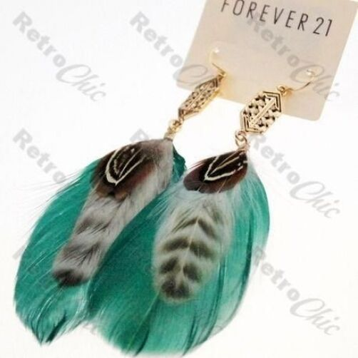 BIG long FEATHER EARRINGS aqua GREEN/BROWN gold pltd BOHO FEATHERS vintage style