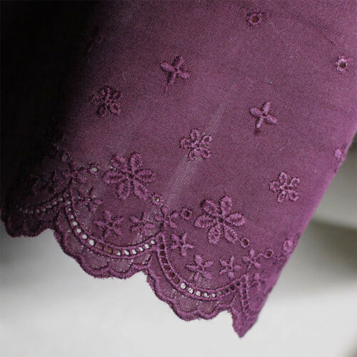 """11.5cm 1Yds Broderie Anglaise Eyelet cotton lace trim 4.5/"""" Burgundy YH1162"""