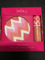 Bella J. Tickled Tulip Pocket Mirror & Lip Gloss Set Special Charm Inside .2oz
