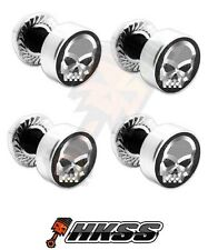 4 Silver Billet Aluminum License Plate Frame Tag Bolts - CHROME SKULL G IN0