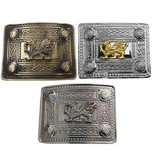 Kilt-Belt-Buckle-Welsh-Dragon-Brass-Antique-Chrome-Gold-Finish-Kilt-Belt-Buckles