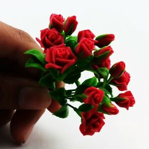 3 Clay Purple Rose Flowers Bouquets Dollhouse Miniature Handmade Home Decor 1:12
