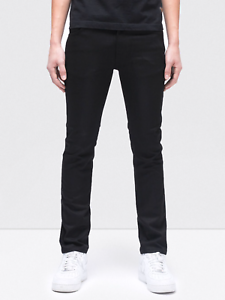 Nudie-Herren-Slim-Fit-Raw-Denim-Stretch-Jeans-Hose-Thin-Finn-Org-Black-Ring
