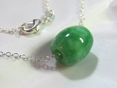 99,9/% silver share Pure Silver Necklace Handmade Green Flower