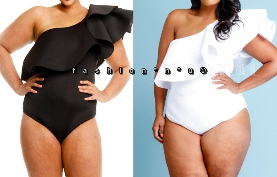 Plus Size One Shoulder Ruffle Bodycon Bodysuit Dress Top Romper Blouse