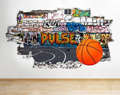 Wall Stickers Basketball Net Sport Court Smashed Decal 3D Art Vinyl Room G082