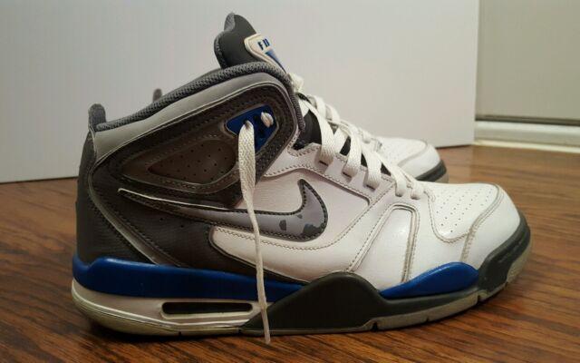 c304384f1218 Nike Air Flight Falcon Basketball SNEAKERS White Grey Blue Mens Size ...